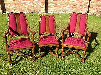 Antique 3 Chairs New Upholstery Cross Stretcher 2 Carvers 1 Other