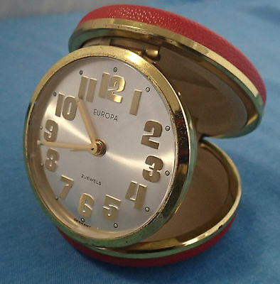 Vintage europa red and brass travel clock