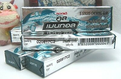 6Pack Cool Menthol Lotte 5 Sticks Chewing Gum