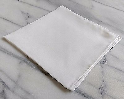Silk Mens Pocket Square- Hand rolled 100% Silk Solid White Pocket Square