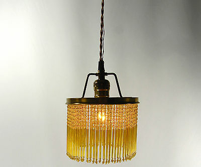 Pendant Chandelier Custom Light Vintage Ring Glass Beads Hanging Fixture Deco