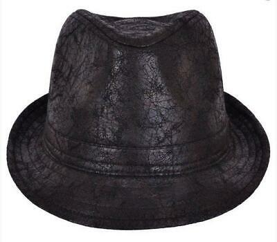 Distressed Cracked Leather Retro Look Trilby Hat - Ska Rude Boy 60,S - Black