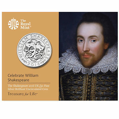 The Royal Mint The Shakespeare 2016 £50 Fine Silver Coin - UK16SP50