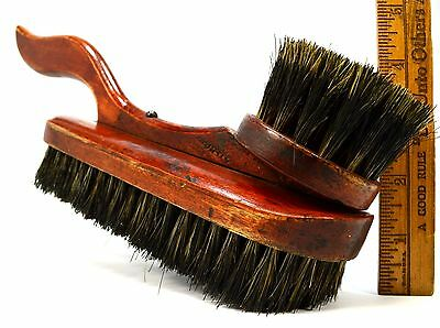 """Antique MAHOGANY SHOE SHINING and/or CLOTHES BRUSH Marked """"87"""" Unique & UNUSUAL!"""
