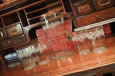"""Vintage Fostoria Etched Pitcher 8 1/2""""  Gold Trim And 4 Cups Glasses"""