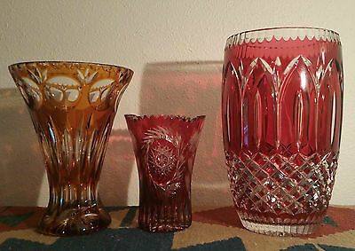 3 RUBY RED yellow bohemian cut crystal art glass vase cased roses vtg cranberry