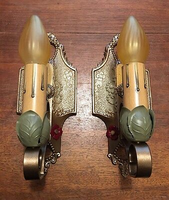 Vintage Antique Sconces Matched Pair 1920s Wall Lights By Lincoln