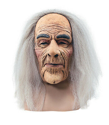 Creepy Old Man# Mask With Hair Adult Fancy Dress Halloween Accessory