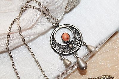 ETRUSCAN vintage STERLING silver salmon CORAL filigree charm pendant necklace