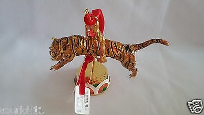 NWT 2015 Cloisonne Jumping Circus Tiger Christmas Ornament Dillards Collectible