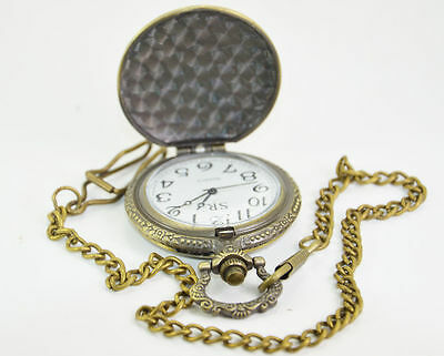 Handmade Vintage Vehicle Design Pocket Watch With Long Chain Made by Dorpmarket