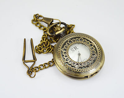Handmade Vintage Pink Flower Designed Pocket Watch with long chain by Dorpmarket
