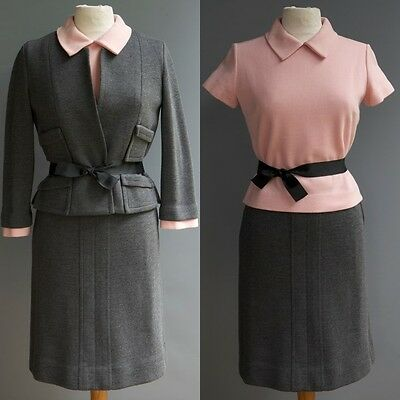 Vintage 60s Mod Kimberly Knit 3p Suit Grey Pink 100% Wool Jacket Top Skirt S M