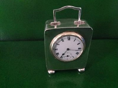 Antique English Sterling Silver Carriage Clock 1905 A/F