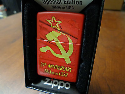 25Th Anniversary Of The Fall Of The Ussr Red Matte Zippo Lighter Mint In Box