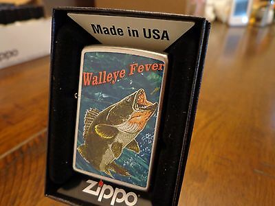 Walleye Fishing Fiver Satin Chrome Finish Zippo Lighter Mint In Box