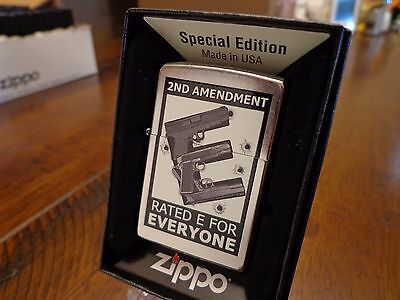 2Nd Amendment Second Pistol Rated E For Everyone Zippo Lighter Mint In Box