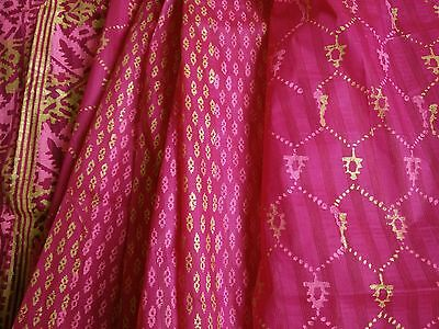 UK*Indian party Bangladeshi Jamdani style block printed pink cotton kota saree