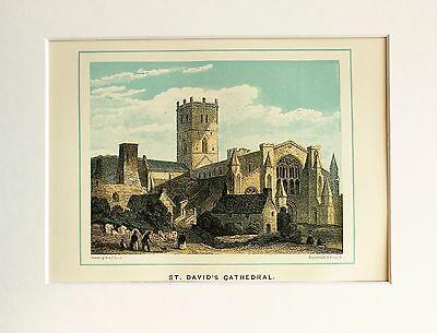 St David's Cathedral, Wales. - Antique Colour Print Engraving Lithograph