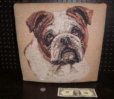 Bull Dog Tapestry Footstool by Linda Pickens