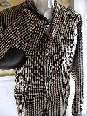 True Vintage Tweed Checked Shooting/Country Jacket Leather Patches & Trim 38-40L