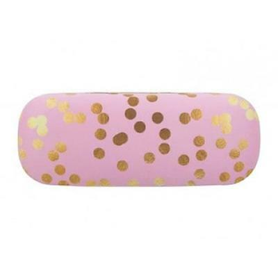 Pink Gold Confetti Hard Reading Glasses Case + Optical Microfibre Cloth New