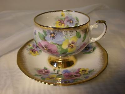 Rosina China Pedestal Teacup & Saucer Colorful Pansies Floral Heavy Gold