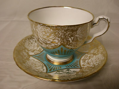 Royal Stafford Bone China Teacup & Saucer Turquoise Large Gold Cabbage Roses
