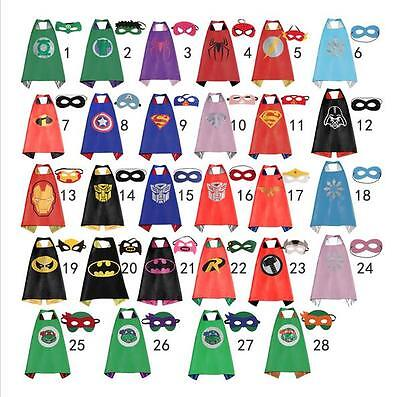 Kids Superhero Cape & Mask Boy Girl Party Costume Set Superman Batman Spiderman+