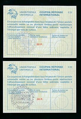 IRELAND REPLY PAID COUPONS IRCs...EXHIBITION CANCELS STAMPEX 1980 + 1981