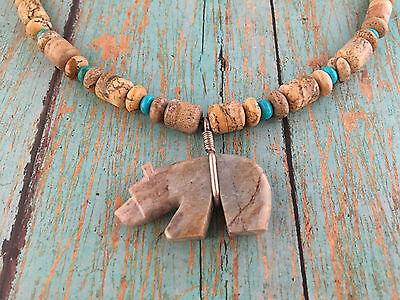 Native American Zuni Bear Necklace Everett Pino Marble Turquoise Sterling