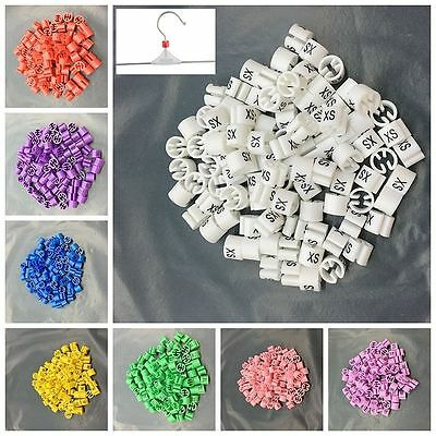 100Pcs Colored Hanger Sizer Garment Markers Cute Plastic Size Marker Tags  XS-5X