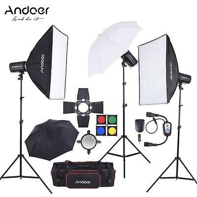 Andoer MD-250 750W Studio Strobe Flash Light Kit with Light Stand Softbox