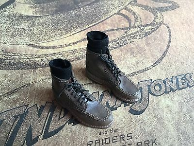 Hot Toys DX05 Indiana Jones Raiders Lost Ark 1/6 Brown Boots Shoes Socks