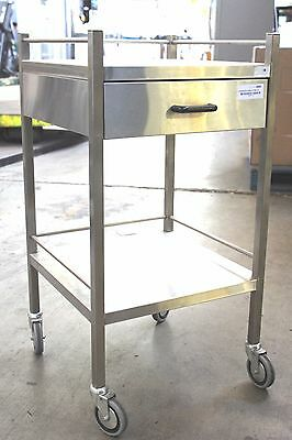 As New Stainless Steel Single Drawer Dressing / Service Trolley