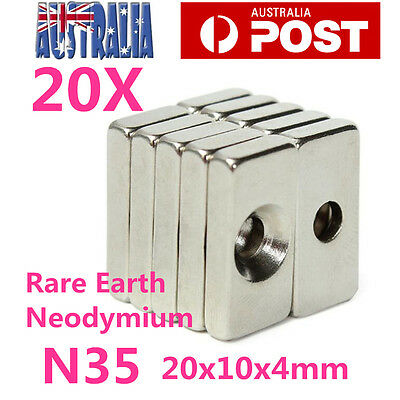 20X Rare Earth Magnets Block N35 Super Strong Cuboid Neodymium Magnet 20x10x4mm