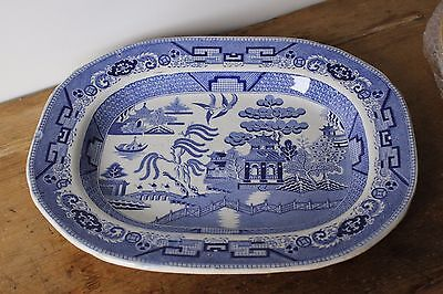 """Antique """"1850"""" over 160 Years old, Blue Willow large Platter. Podmore Walker &co"""