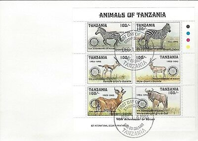 1995 Rotary International - Tanzania - 90'th Ann Animals S/S 2 FDC