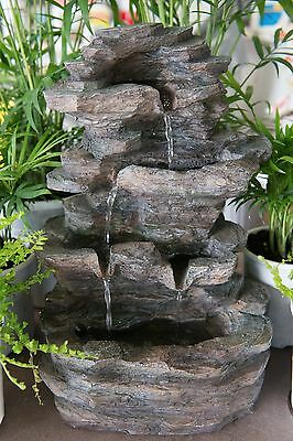 Outdoor Garden Patio Water Feature Cascading Rock Wall Grey Grotto Fountain