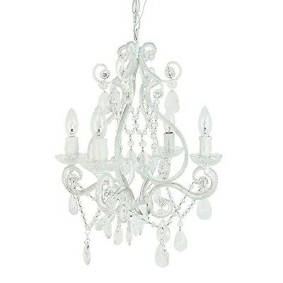 White Chandelier Candelabra Ceiling Light Fixture Art Glass Chain Hanging Swag