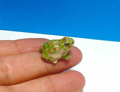 Tiny Green Frog with Brown Dots Porcelain Miniature Figurine