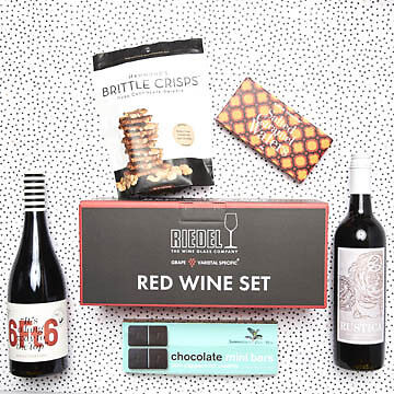 New New Riedel Red Wine glass set, wine and nibbles luxury hamper