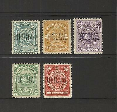 Costa Rica ~ 1892 Arms Official Service Stamps (Mint Mh) Part Set