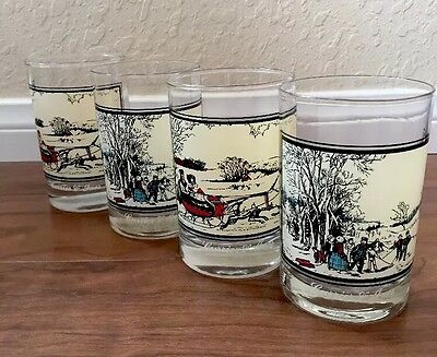 Vintage Arby's Currier and Ives Highball Glasses  - Qty 4