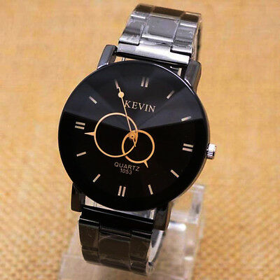 Mens Quartz-Watch Fashion Dial Design Stainless Steel Band Analog Business Watch