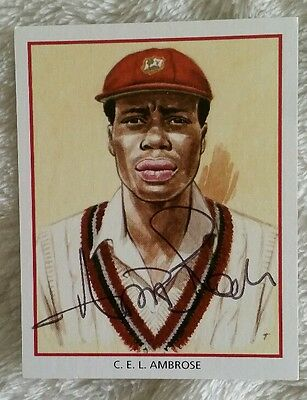 "Sir Curtly Ambrose Cricket Signed In Person County Hobby Card ""Buy Genuine"""