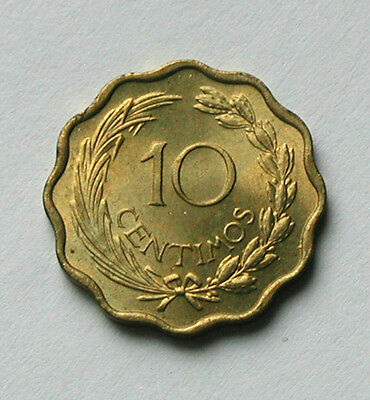 1953 PARAGUAY Coin - 10 Centimos - UNC lustre - special coin shape - scalloped