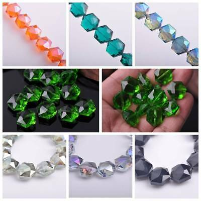 Wholesale Faceted Hexagon Glass Crystal Loose Spacer Beads DIY Findings 16x14mm