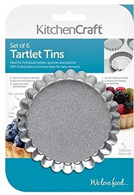 Stainless Steel Fluted Tartlet Tins with Loose Bases 10cm Set of 6 NEW