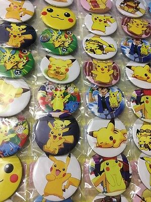 6pcs Pokemon 45mm Plastic Cartoon Badge Brooch Pin Birthday Party Lolly Bag Gift